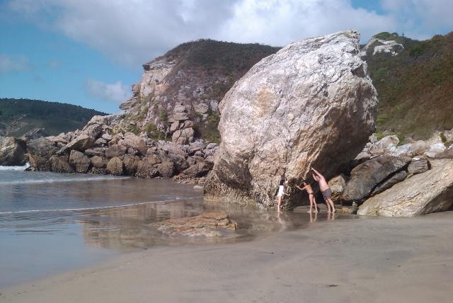 Pena da Noiva Moura. Rock of the Moura Bride in  St. Anton's beach. Espasante. Ortigueira. Galiza