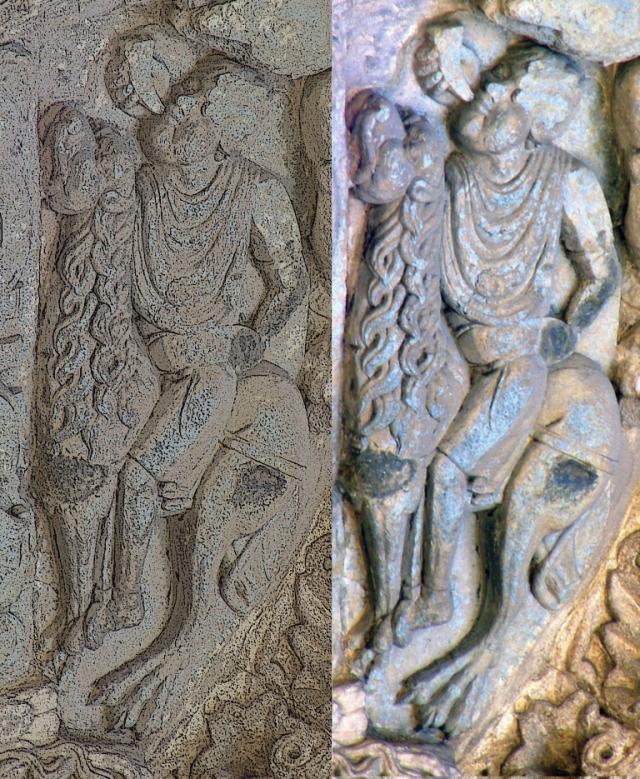 Caça Selvagem na Porta do Paraíso [Azabacheria] da Catedral de Santiago. Pelo Mestre Estevam. Hoje está na Porta de Praterias, despropriada de seu programa iconográfico original.