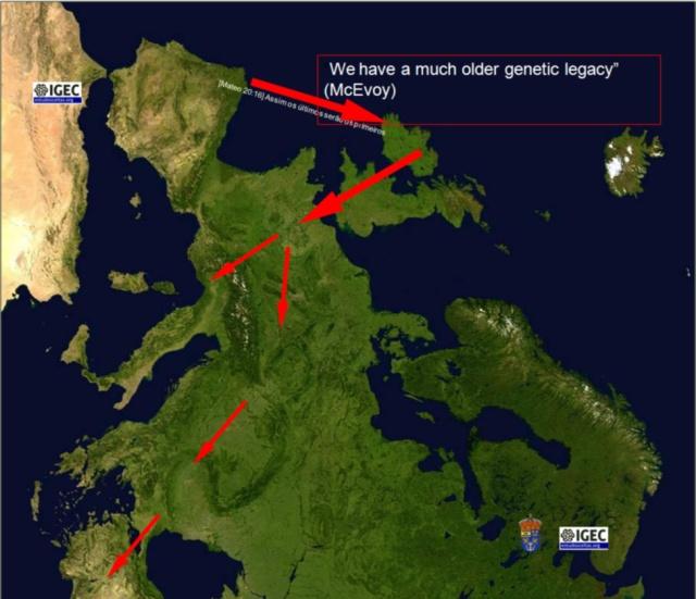 A expansão dos celtas, no Mesolítico e Neolítico, até a Época Clássica, como o demonstram a Genética e a Arqueologia Institucional, se produz de ocidente a oriente: Costa Atlánticas de Iberia -com sua epicentro em Kaltia ou Gallaecia-, Irlanda, Grã-Bretanha, Europa continental e, por último, Ásia Menor.