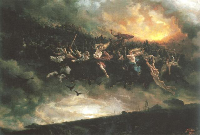 The wild hunt: Åsgårdsreien (1872) by Peter Nicolai Arbo (Wikipedia)
