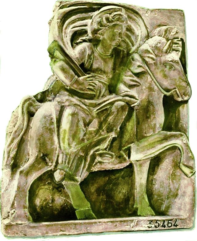 Epona coa chave do Além desenho reconstructivo de A. Pena ex foto Recueil général de Émile Espérandieu