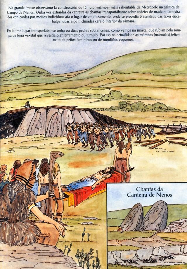 Construção de um grande dólmen no Monte do Seijo - Monte de Nenos. Pintura de Eva Merlán Bollaín asesorada por Andrés Pena, para Narón, Uma História Ilustrada na Terra de Trasancos (Concello de Narón)