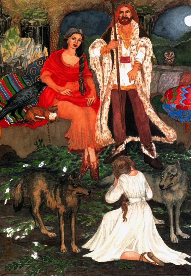 Família de Mouros em sua subterrânea residência. Por Eva Merlán Bollaín. Contos e Lendas de Trasancos. Magnífico livro e ilustrações que tive a honra de prologar- (c)Eva Merlán