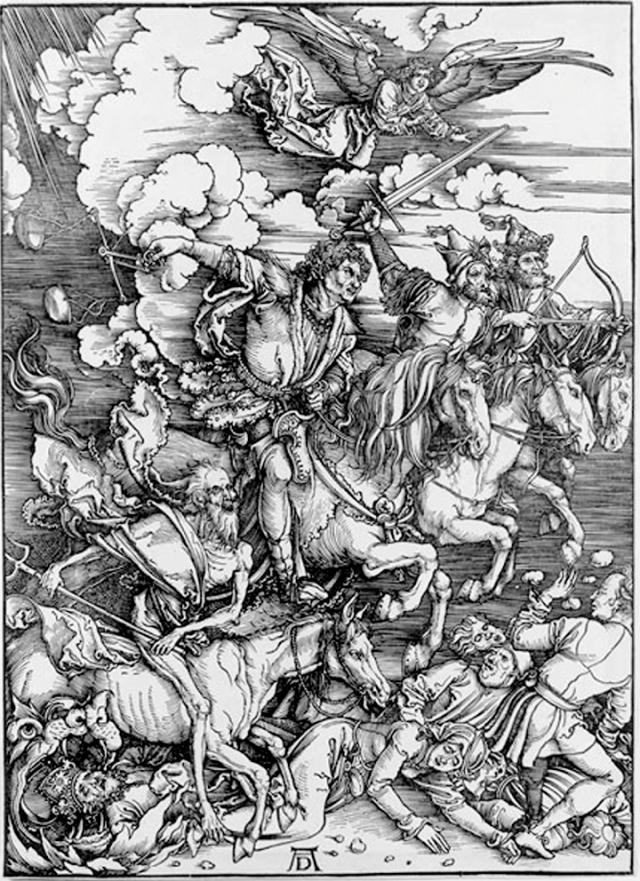 Os quatro ginetes do Apocalipsis por Alberto Durero ca. 1497