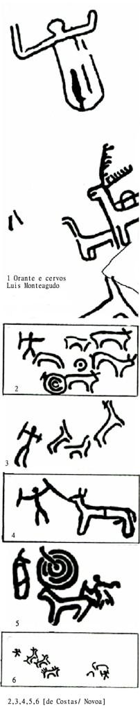 Petrógrifos com o motivo atlântico da Caça Selvagem assinalando a Porta do Além sobre a rocha graníticas. Segundo André Pena (2004) os que caçam sobrenaturais cervos são os mortos, a procura da Porta do Além ou Sidhe