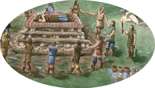 Reconstruição pelo artista Carlos Alfonzo, baijo a minha direção dum cerimonial fúnebre calcolítico, com baile do abelhão
