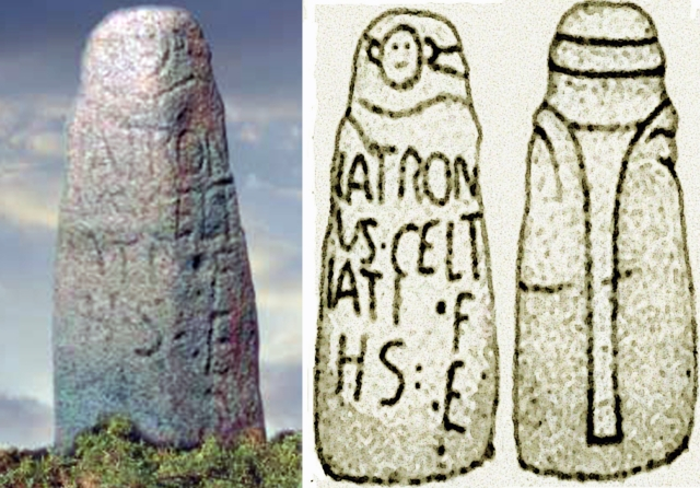 """Estatua Menhir calcolítica, citada na decoria deste documento. Possivelmente o texto alude a um desaparecido túmulo de quatro chantas e coberta, similar aos do Xistral, habitual no Calcolítico e Bronze antigo, um 'laco', dólmen ou arca, coroado com esta mesma estatua menhir de Látrono """"Esforçado na Batalha"""" fillo de Celtiato, Latronus Celtiati Filius. Hic Situs Est [aquí jáz]"""