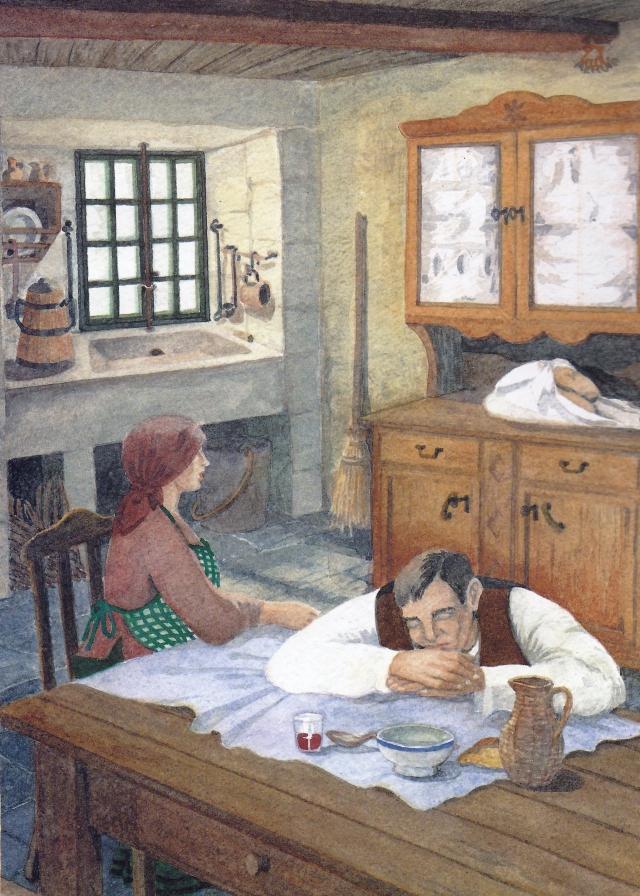 II O lavrador chegou por fim a casa e foi recebido com alegria póla sua família. Depois de abraçar à Mulher e aos filhos, guardou o pan no chineiro advertindo-lhes que não deviam tocá-lo. Então se sentou a mesa, onde a dona lhe tinha preparado um algo do pouco que havia para comer. Reconfortado pelo caldo e o vinho, e derreado como estava pela viagem, o homem ficou dormindo pensando no estranho encontro que tivera e tratando de não esquecer os nomes que a velha lhe aprendera. Entretanto se desfazendo o nó que cerrava o lenço no que vinham envoltos os bolos: a Mulher, tentada póla cor e o arrecendo daqueles moletes tão feitinhos, não puído resistir-se e beliscou-lhe um anaquinho a um deles: logo voltou a cerrar o lenço e arranjou-o todo tal e como o marido o deixara. Quando o homem despertou, apanhou o fatinho do pão e marchou com ele, caminho do Castro, disposto a cumpri-lo mandado da velha meiga.