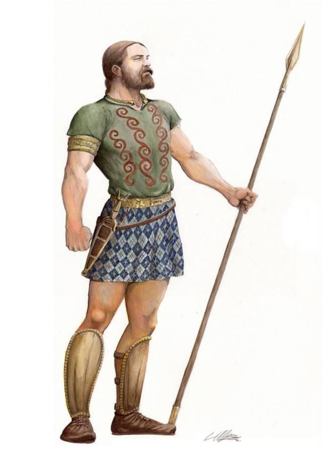 Guerreiro Galaico por Carlos Alfonzo asesorado por André Pena. Reparem na saia com kilt de quadros sempre ao biés, nas ondulações, viria, torque, e sobre todo em o cinto [o de Elvinha] que não é diadema.