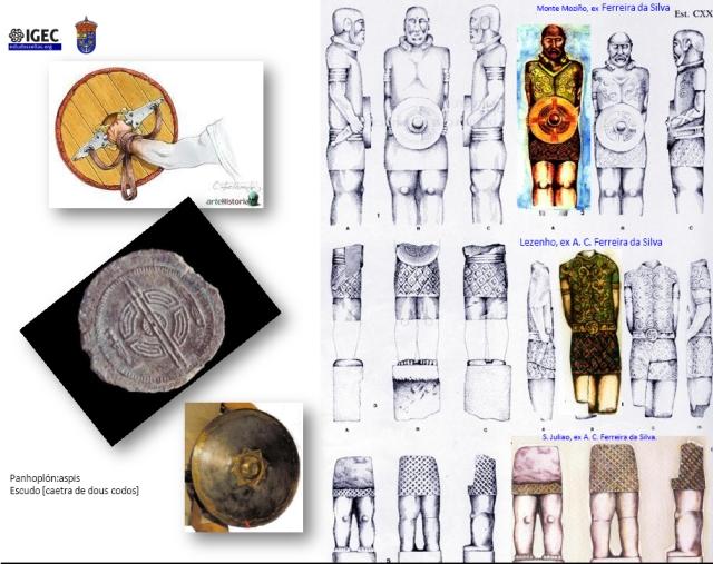 """Este é o tartan mais antigo da Europa representado nos fiéis desenhos destas escultura de principes celtas -como demonstrei em seu dia-,galaicos brácaros de Monte Mozinho, Lezenho e São Julião - todos são galaicos e nenhum claro está é lusitano- . Todas as monumentales estátuas de guerreiros galaicos são pré romanas, e um dia estiveram sobre seus túmulos, ainda que hoje algumas levem umas inscrições romanas funerarias baixo imperiais, postas estas cinco ou seis séculos após que estas estátuas fossem feitas [as clausulas finais, Hic Situs Est """"Aqui Jaz"""", ou Faciendum Curavit/Curaverunt indicam claramente que então ainda desempenhavam seu papel funerario, e seguramente demarcatorio, sobre um túmulo fundacional]. Minha reconstrução cromática, partindo dos excelentes desenhos de Ferreira dá Silva, é claro está arbitrária. Não o é, no entanto o facto de que estes guerreiros levavam esquemas de tecido de quadros e que estes quadros, em todos os casos, a diferença dos actuais quadros escoceses são sempre """"ao biés"""". Uma carácterística galaica."""