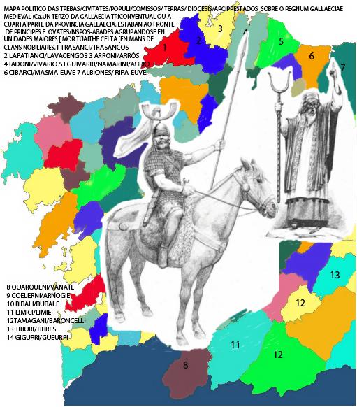 Mapa parcial de distribuição de trebas ou toudos costeiras de Gallaecia sobre um mapa da reduzida Gallaecia atual. Estas pertencentes em sua maioria ao Convento Lucense