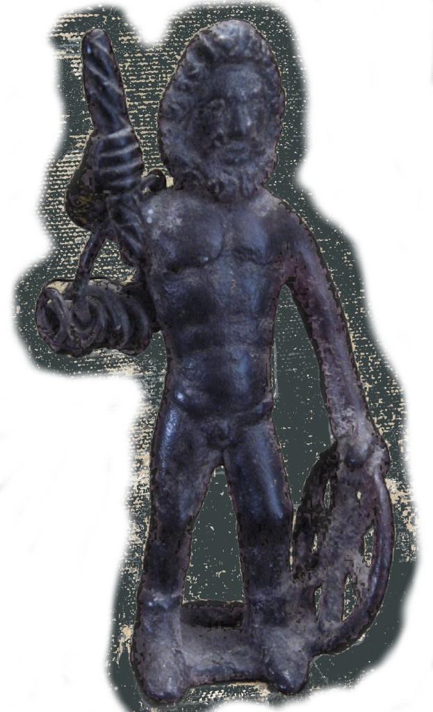 Taranis Jupiter Galo com solar roda, trono, e um aro com lóstregos Le Chatelet Gourzon. Haute Marne.