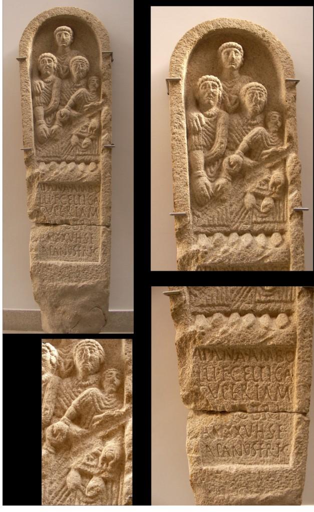 Estela paleo cristã de Apana, filha de Ambollo Celtica Supertámarica, do Castro Miobre S. IV-V dC. Hallada en Crecente, Lugo. Museo de Lugo.