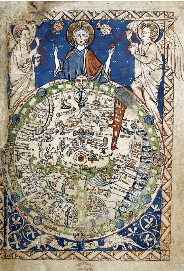 Curioso Mapamundi num Salterio da abadia de Westminster (9,5 cm de alto) miniado ca 1265?. British Library