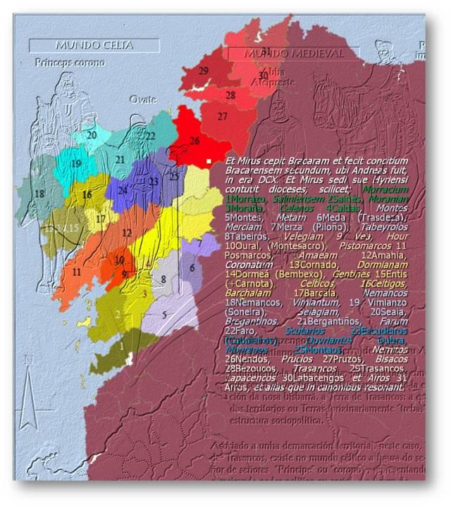 Mapa amosando em Gallaecia os mór túaithe, unidades políticas superiores as trebas (André Pena)